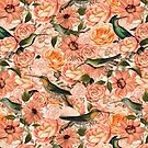 Nostalgic Flower And Hummingbird Pattern by artsandsoul