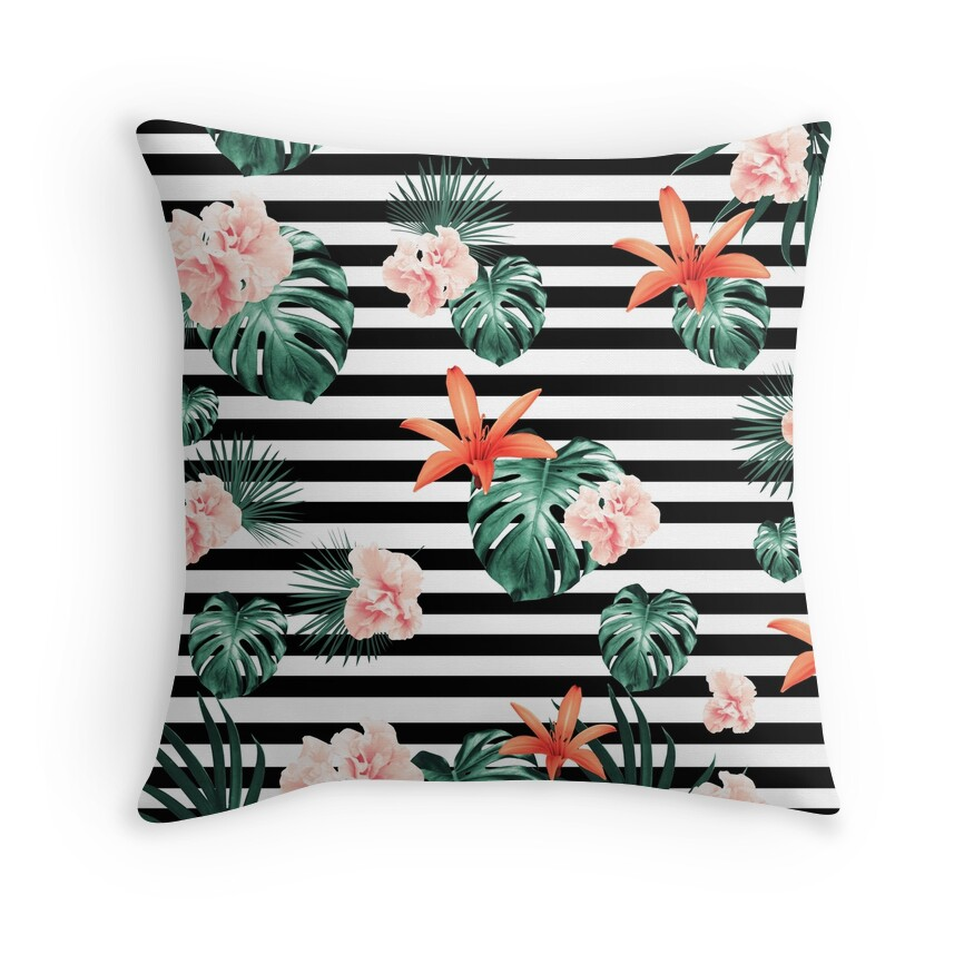 Tropical Florals & Foliage on Stripes #1 #decor #art