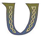 Celtic Knotwork Alphabet - Letter V by Carrie Dennison