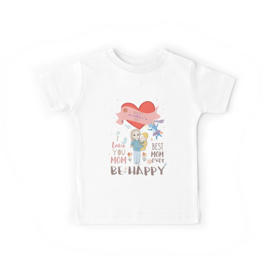 Toddler//Kids Short Sleeve T-Shirt Two Hearts Happy Mothers Day Mami