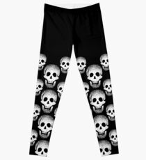 Black and White Crystal Mosaic Laughing Skulls Leggings
