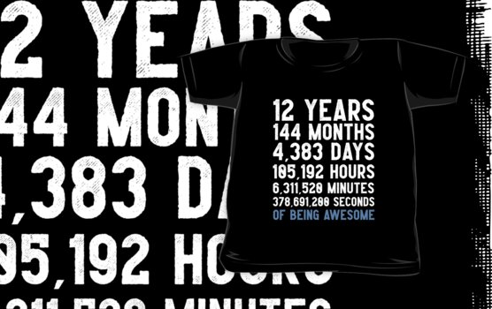 Boys 12th Birthday Countdown T-Shirt Funny Gift Birthday Gift 12 Year Old Boys  | Happy Birthday 12 Years Old | Gift for 12 Year Olds