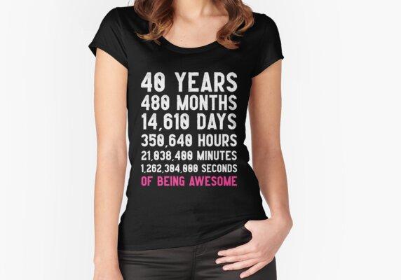 Women's 40th Birthday Countdown T-Shirt Funny Gift Birthday Gift 40 Year Old For Women's | Happy Birthday 40 Years Old | Gift for 40 Year Olds