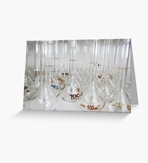 Belly test tubes standing in a chemistry lab Greeting Card