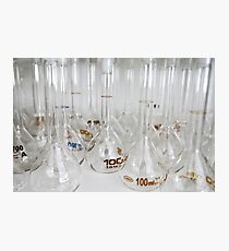 Belly test tubes standing in a chemistry lab Photographic Print