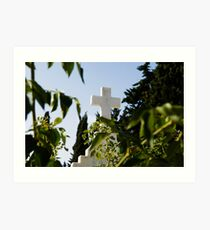 Stone cross in a catholic cemetery, Portugal Art Print