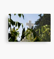 Stone cross in a catholic cemetery, Portugal Metal Print