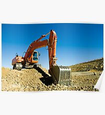 Excavator in a road construction Poster