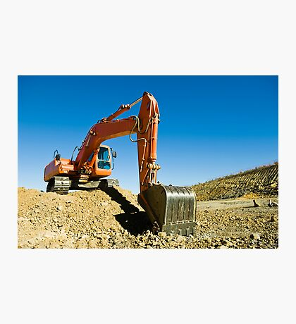 Excavator in a road construction Photographic Print