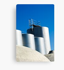 Stainless steel tanks in a winery, Portugal Canvas Print