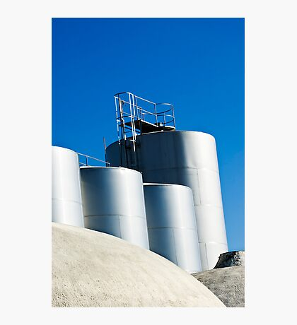 Stainless steel tanks in a winery, Portugal Photographic Print