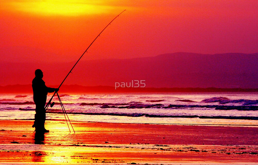 Fisherman Silhouette against the setting sun on downhill beach Ireland by paul35