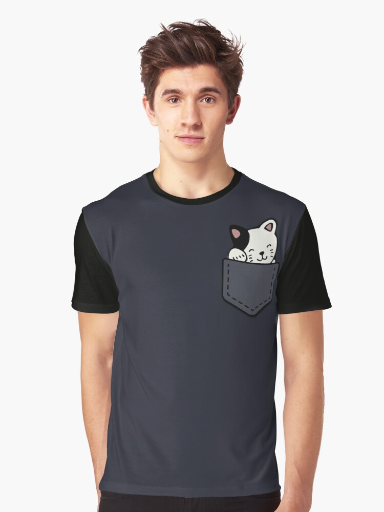 Cat In Your Pocket Graphic T-Shirt Front