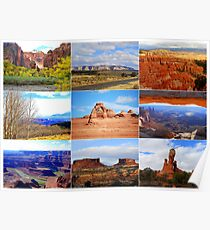 Collage of Utah Landscape Icons Poster