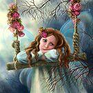 Schöner junger feenhafter Schmetterling auf Schwingen. Illustration. von Alena Lazareva