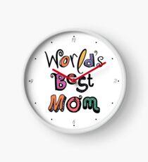 World's Best Mom Text Design #01 Clock