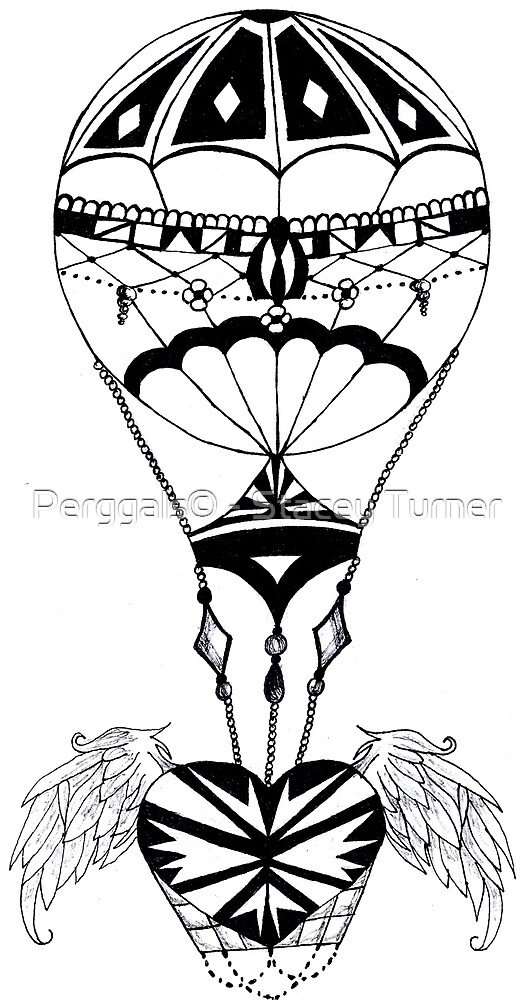 air balloon drawing by Perggals© - Stacey Turner