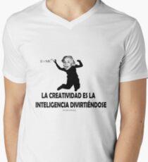EINSTEIN: LA CREATIVIDAD ES LA INTELIGENCIA DIVIRTIENDOSE Camiseta de cuello en V