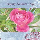 Mother's Day Lavender and Pink Rose Card by jmgreenartworks
