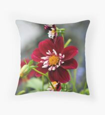 Red Dahlia Throw Pillow