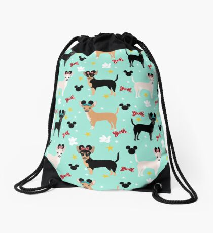 chihuahua theme park lover dog breed pattern gifts Drawstring Bag