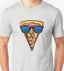 Funny Pizza Emoji Sunglasses Pepperoni Cheese Novelty Gift  Slim Fit T-Shirt