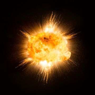 Realistic fiery explosion with sparks over a black background, high resolution image by michalz86