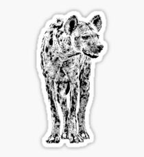 Spotted Hyena in Graphic Black and White Sticker