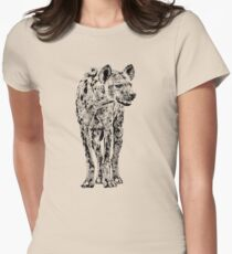 Spotted Hyena in Graphic Black and White Women's Fitted T-Shirt