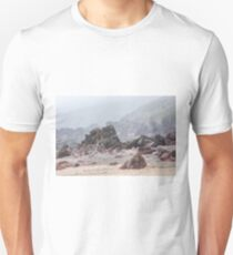 Misty morning on Pembrokeshire beach Unisex T-Shirt