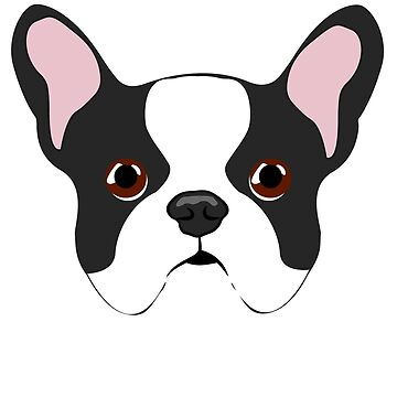 Super Cute French Bulldog Face Illustration by getagreatdeal