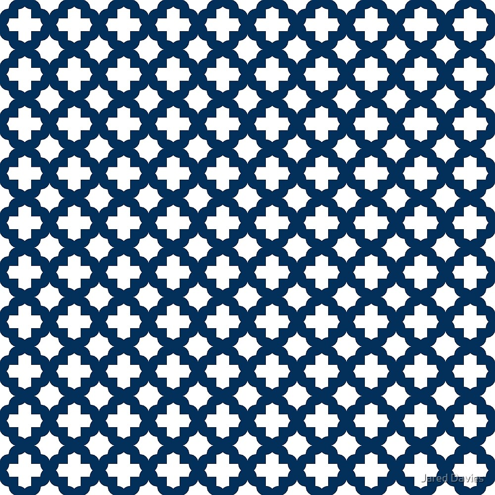 Stars & Crosses Quatrefoil Pattern: Navy Blue by MilitaryCandA