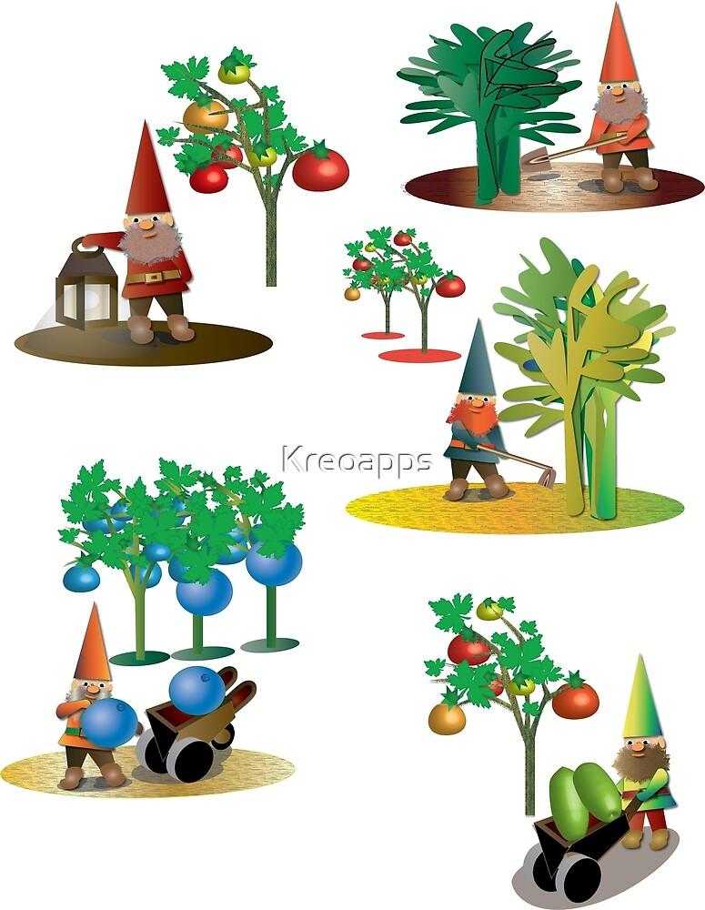 five garden gnomes  by Kreoapps