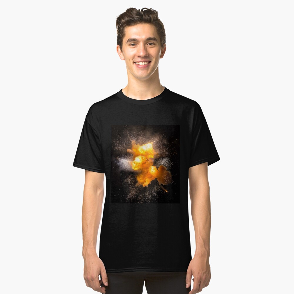Realistic fiery explosion with sparks over a black background, high resolution image Classic T-Shirt Front