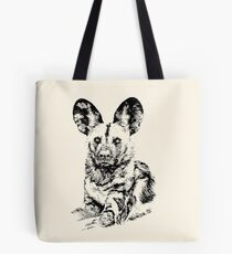 African Painted Dog Making Eye Contact Tote Bag