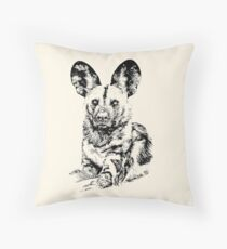 African Painted Dog Making Eye Contact Throw Pillow