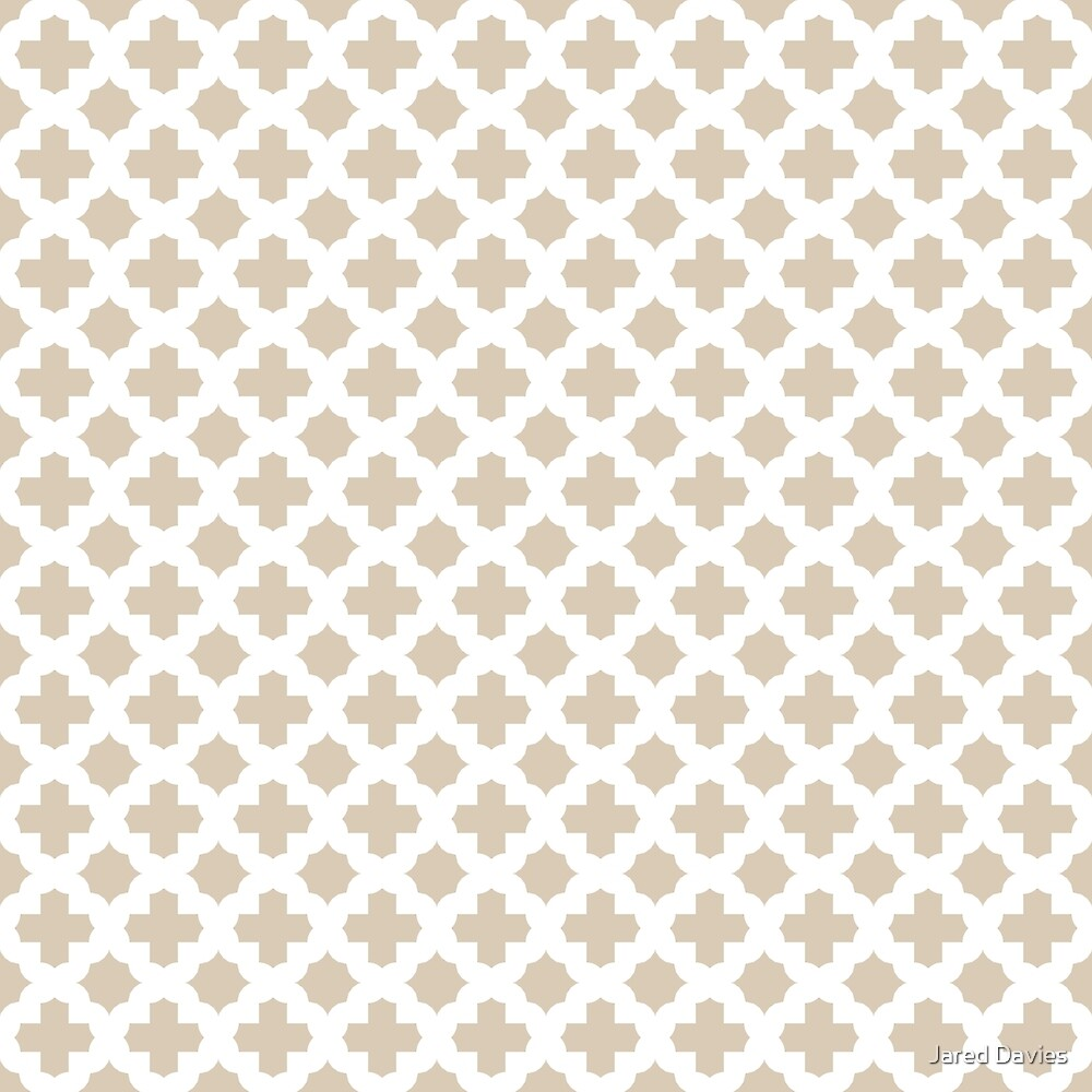 Stars & Crosses Quatrefoil Pattern: Beige by MilitaryCandA