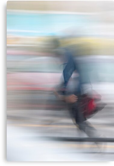 Ghost of a man walking in the traffic of the city by carlotoffolo