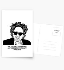 Tim Burton - Craziness quote design Postcards