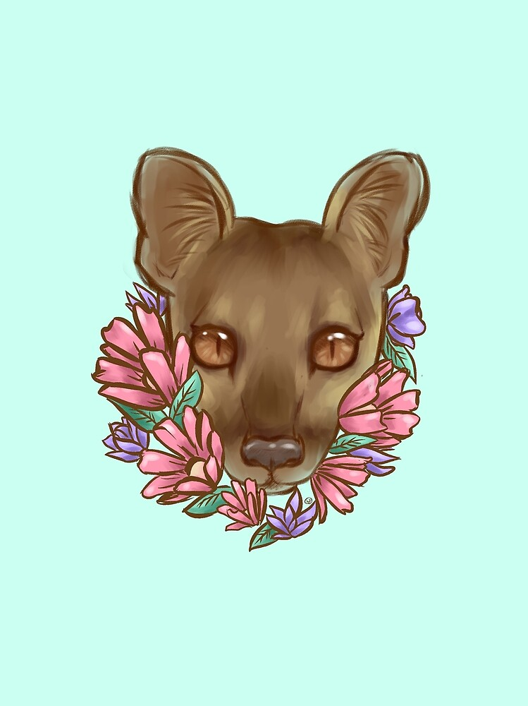 Flowers and a Fossa by squids-art