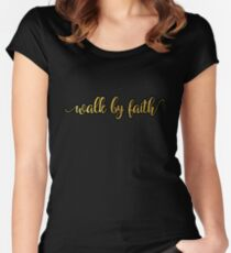 Christian Quote - Walk by faith - Golden Women's Fitted Scoop T-Shirt