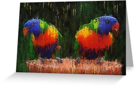 Vibrant colorful parrots - canvas oil paint impressionism by Zenon Szczesny