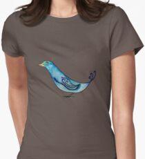 Watercolor Blue Bird Women's Fitted T-Shirt
