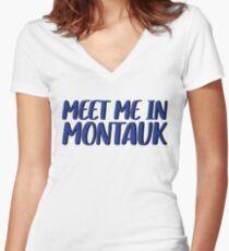 Meet Me In Montauk - Adventure Traveler Women's Fitted V-Neck T-Shirt