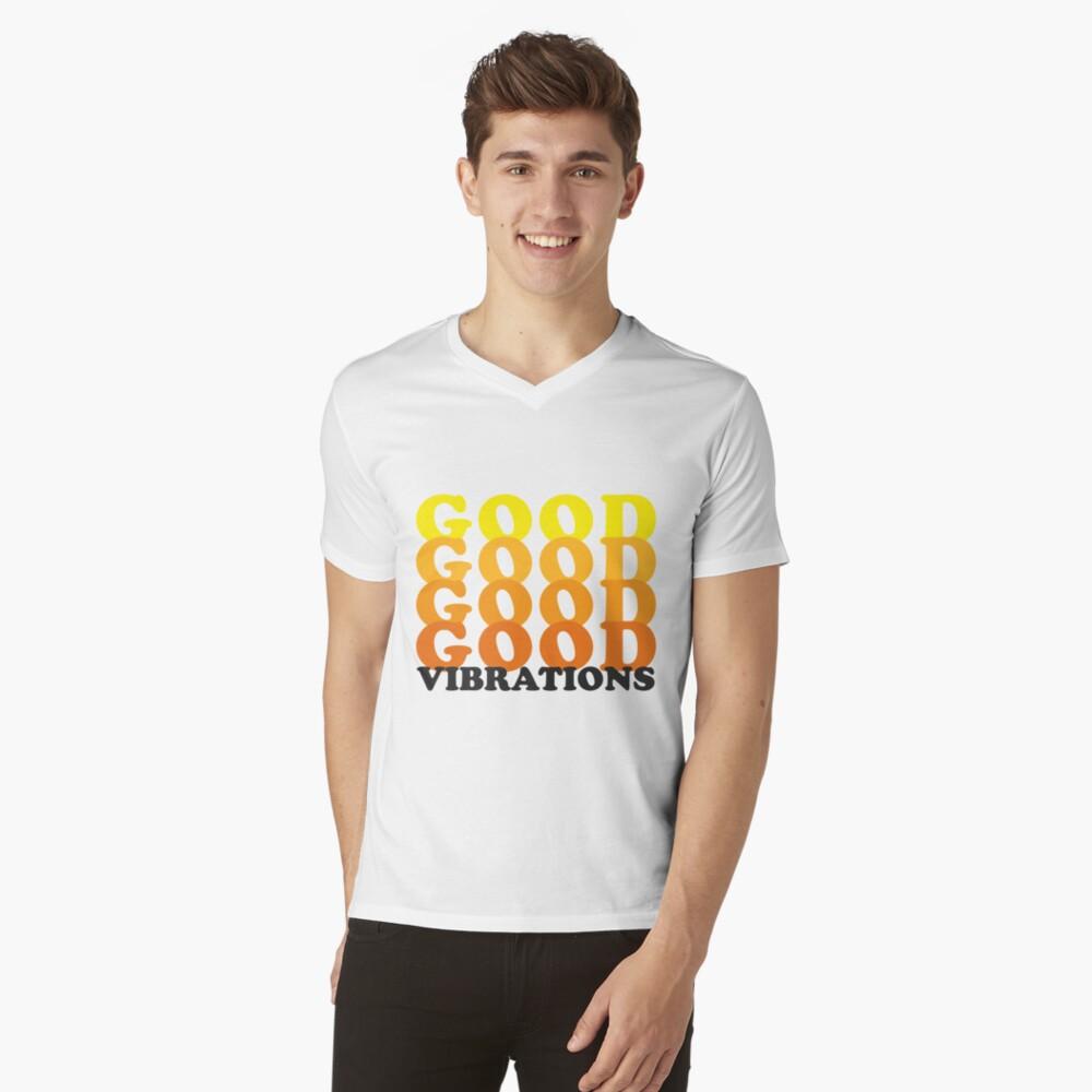 Gute Vibrationen - Retro T-Shirt mit V-Ausschnitt