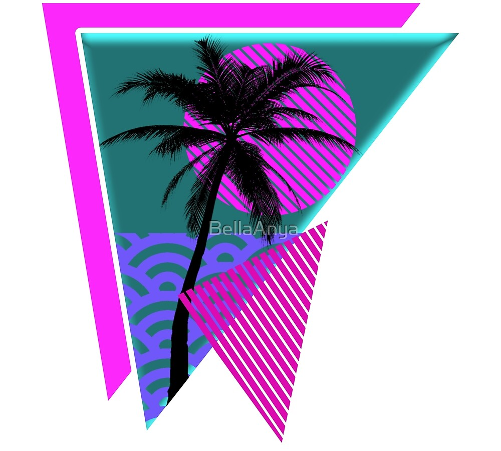 Vaporwave Geometric Palm Tree by BellaAnya