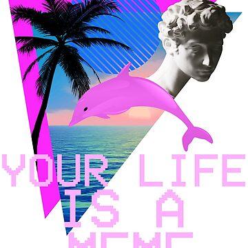 Vaporwave Your Life Is A Meme Ocean Dolphin Bust by BellaAnya