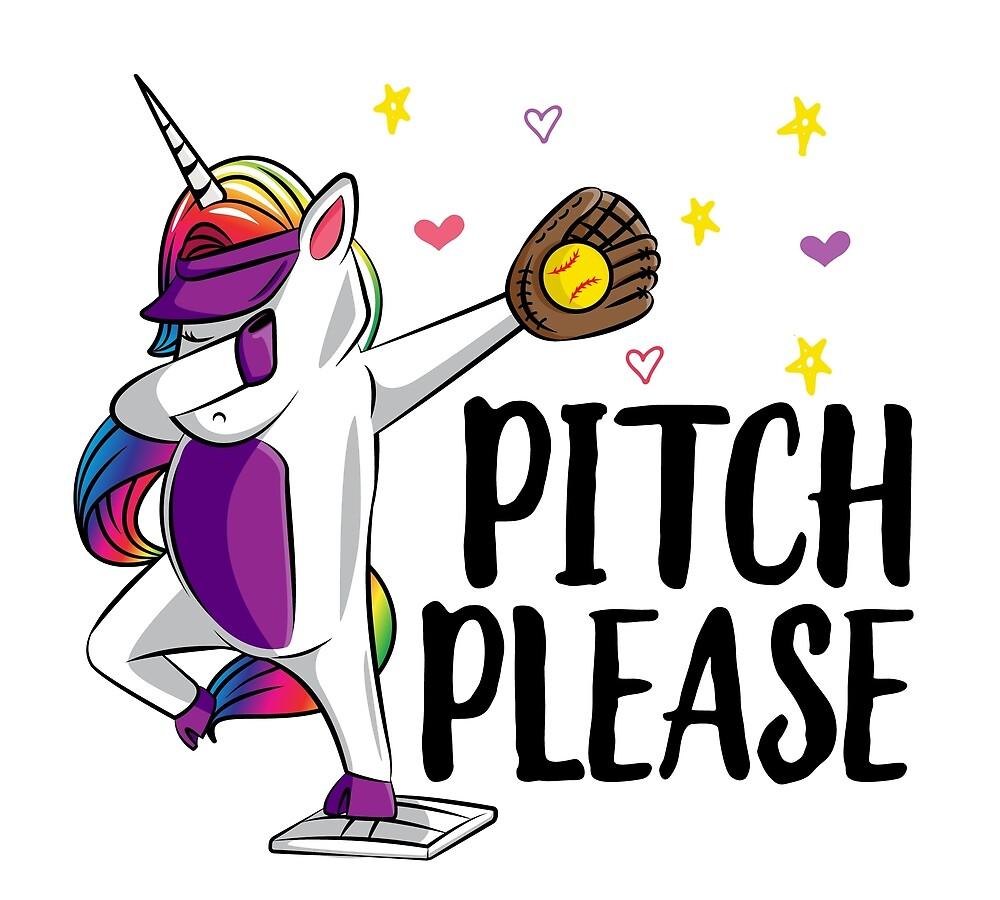 Dabbing Unicorn Softball Girls Softball Dab Softball Gift Cute Softball Unicorn Pitch Please Dab (2) by Rhynowear
