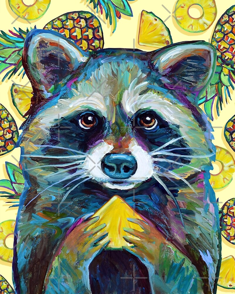 Summer Sweets CUTE RACCOON With Pineapple by RobertPhelpsArt