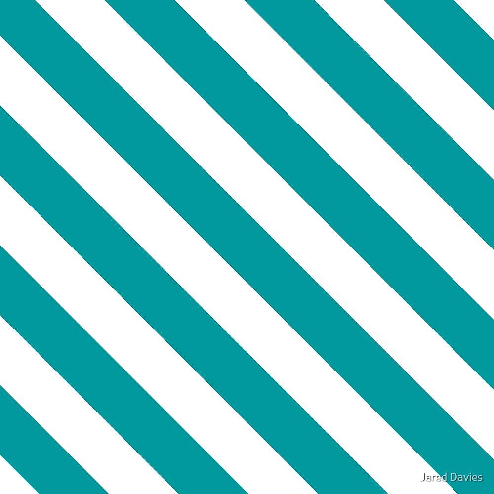 Teal Diagonal Stripes by MilitaryCandA